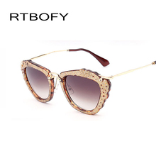 High Quality Metal Cat Eye Sunglasses Women Brand Designer Hollow Carved Lace Sun Glasses For Women Oculos De Sol s7212