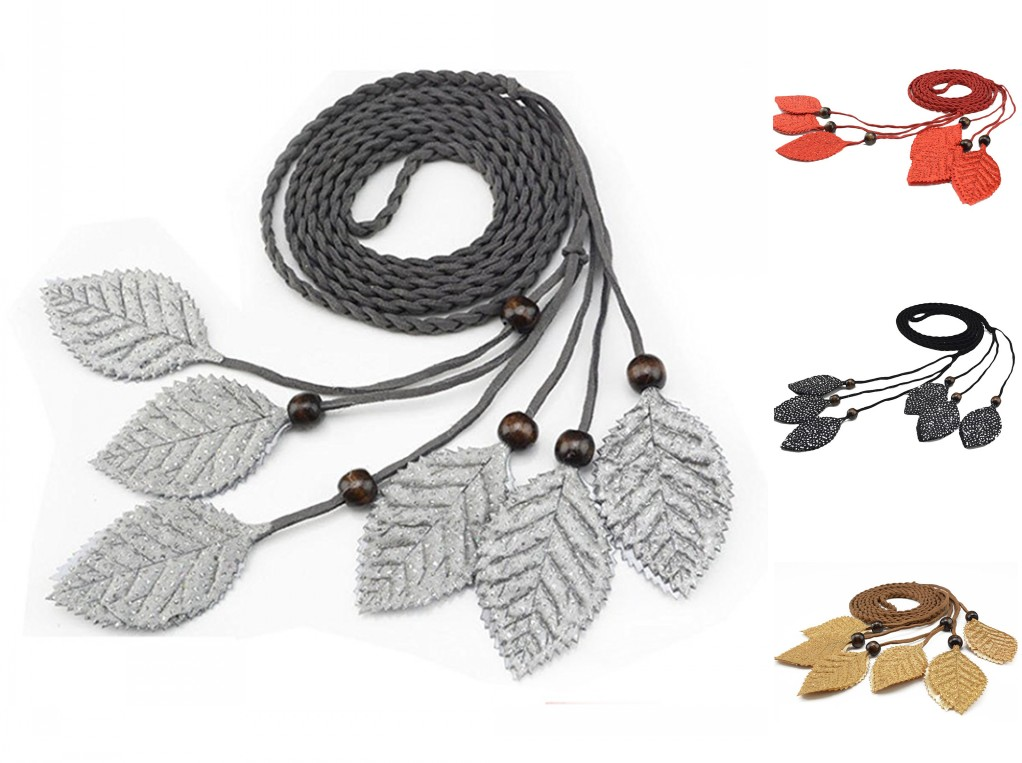 Women Tassels Waist Belt Bohemia Style Braided Coat Dress Waist Belt Accessories black/red/gray/Camel