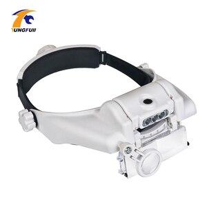 Image 2 - Tungfull óculos lupa relógio ferramenta de reparo óculos lupa led cabeça lupa 1.5x 2x 2.5x 3x 3.5x 8