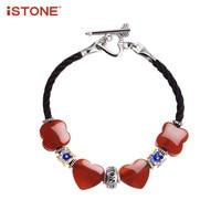 ISTONE 100% Natuurlijke Edelsteen Rode 925 Sterling Zilveren Armbanden Agaat Hart Bead Charm Sieraden Cadeau voor Valentijn Minnaar Familie