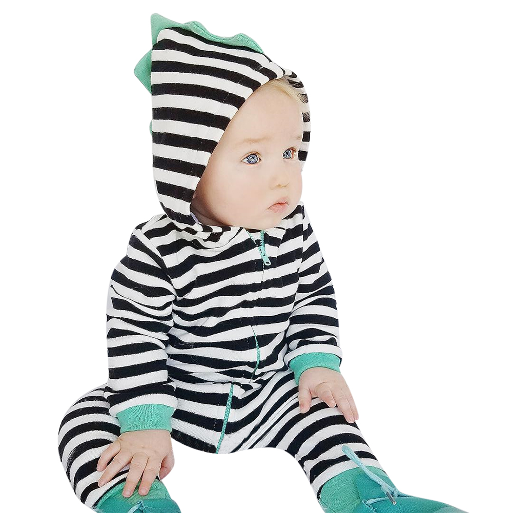 Infant Toddler Baby Clothes Black and White Striped Print Hooded Romper Long Sleeve Jumpsuit Playsuit Newborn Clothing puseky 2017 infant romper baby boys girls jumpsuit newborn bebe clothing hooded toddler baby clothes cute panda romper costumes
