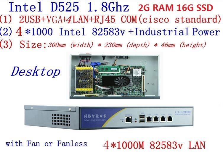 Atom D525 Dual Core 1.8GHz Firewall Server 2G RAM 16G SSD Desktop Mode 4*Intel 82538V 1000M Network Support PfSense, WayOS