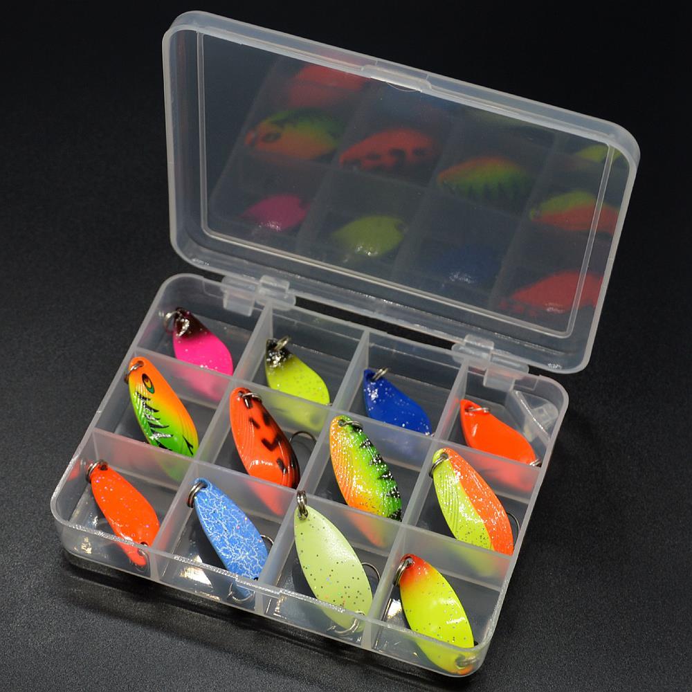 caixa de pesca metal isca colher conjunto