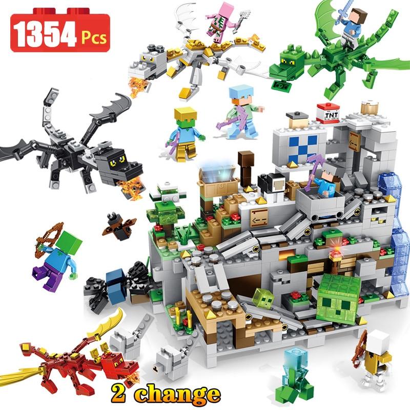 Новые блоки мой мир летающий дракон Совместимость LegoINGLYS Minecrafted органов пещеры 3D световая защита Развивающие игрушки для мальчиков