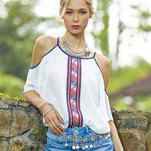 2017 Plus Size Women White Chiffon Blouses Ladies Printed Off Shoulder Bohemian Shirts Tops Camisas Women Shirts Cheap Clothes