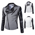 fashion stand collar motorcycle leather clothing men's leather jacket male outerwear White/black Leather & Suede M-XXL TJA007