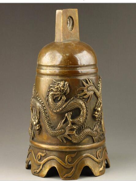 Bronze pur cuivre vieux Qing Ming laiton vieux chinois fait à la main exquis anaglyphe Dragon laiton cloche