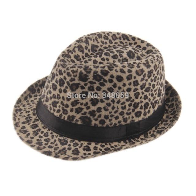 Unisex Men Women Cappelli Jazz Soft Felt Leopard Print Ribbon Band Panama  Hat elegant gorras hombre Gangster Cap 1b447ac2387