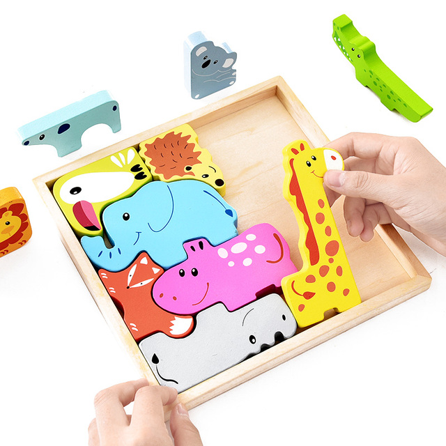 Kids Montessori Materials Traffic Jigsaw Puzzle Clever Board Montessori Educational Wooden Toys For Children Baby Sensory Toy