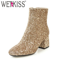WETKISS 2020 Bling Bling Oberen Damen Stiefeletten Pailletten Fashion Zipper Dicken High Heels karree Winter Stiefel Gold Frauen(China)