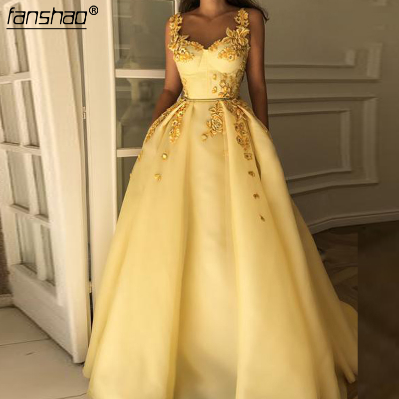 Yellow Muslim Evening Dresses Sweetheart Spaghetti Strap Islamic Dubai Saudi Arabic Long Elegant Evening Gown Long Prom Dress