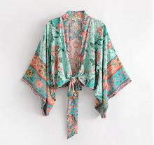 Flower Print Bow Tie Batwing Sleeve V-Neck Loose Kimono RK