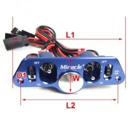 Original Miracle CNC Aluminum Twin Power Switch with Fuel Dot / Futaba JR Plug / Cables for RC Gasoline Airplane /Boat - Blue