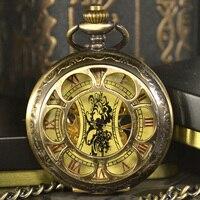 TIEDAN Steampunk Skeleton Dial Black Case Male Relogio De Bolso Retro Roman Numerals Chain Clock Men