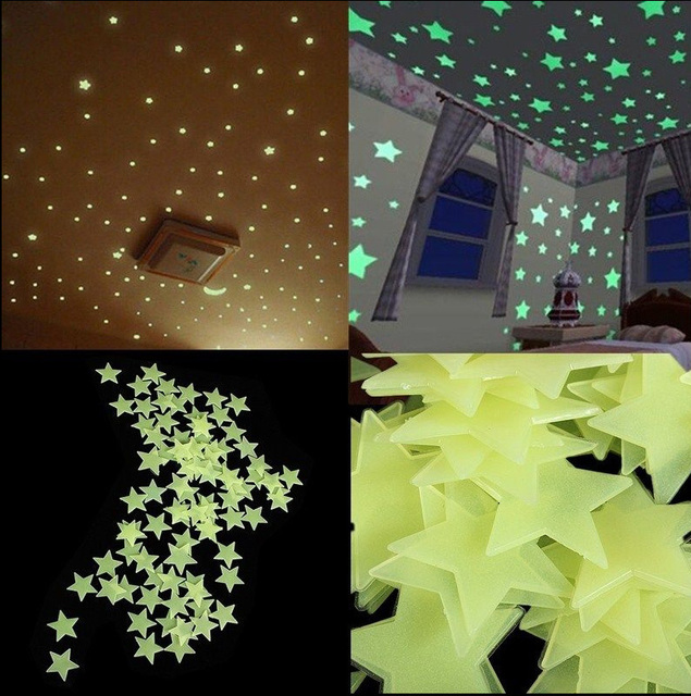 100pcs home wall light green glow in the dark star stickers decal