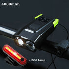 Bike Front Light Set USB Rechargeable Smart Headlight Bicycle Flashlight 4000mAh Induction With Horn LED Bike Light+Rear Lamp