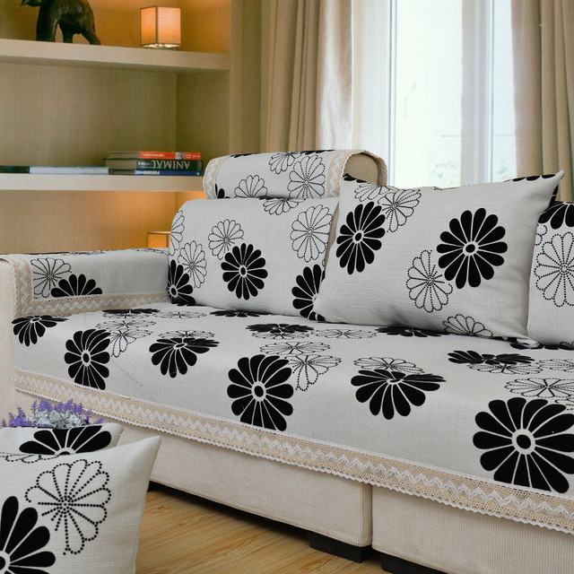 Cotton Linen Fabric Sectional Sofa Covers Flocked Case on