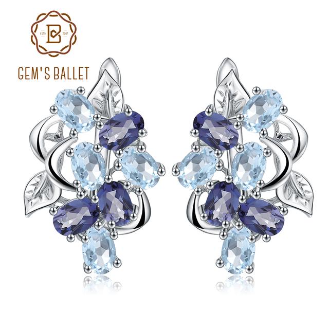 Gem's Ballet Multicolor Natural Sky Blue Topaz Mystic Quartz Stud Earrings 925 Sterling Silver Flower Earrings For Women