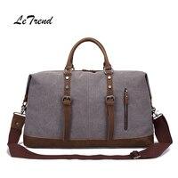 LeTrend New High capacity Canvas Portable Luggage Men Shoulder Bags Retro Classic Travel Bag Handbag Vintage Men's Handbags