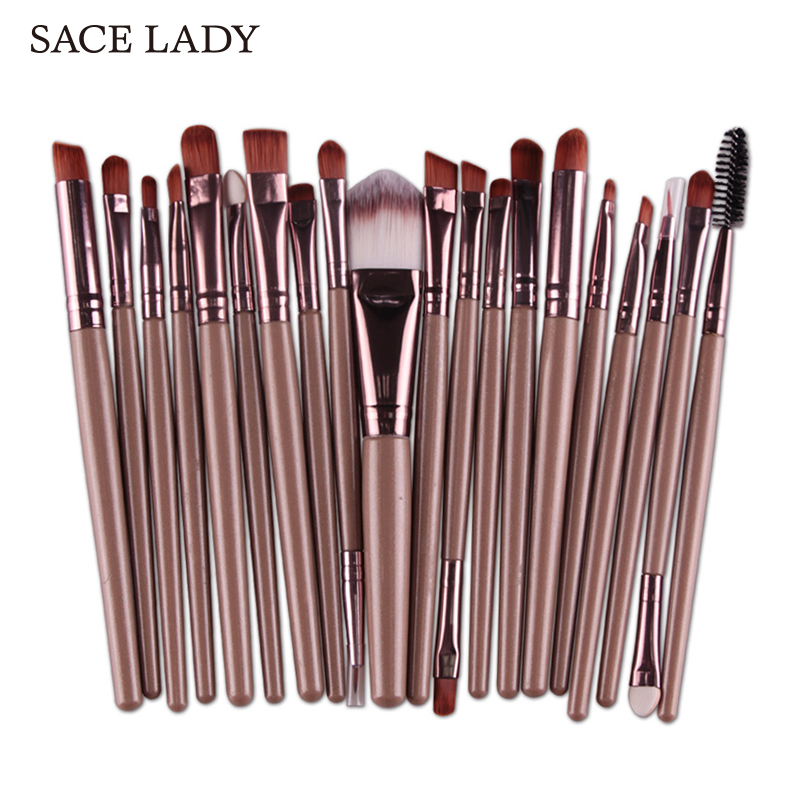 SACE LADY Make up Brushes Set 20Pcs Foundation Eyebrow Brush Kit Eyeshadow Eyeliner Powder Makeup Tool Eyelash Lip Cosmetic high quality 24pcs makeup brushes set cosmetic make up brush tool kit fan foundation powder eyeliner brushes with leather case