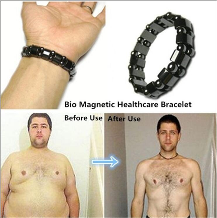 Hot Selling Unisex Weight Loss Round Black Stone Magnetic Therapy Bracelet Health Care Magnetic Hematite Stretch Bracelets B3008