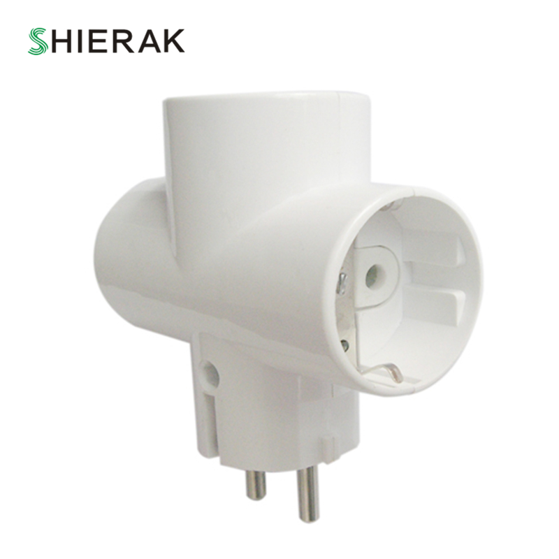 SHIERAK 1 To 3 Way European Type Conversion Socket EU Standard Power Adapter Wall Socket 16A 110-250V Travel Plugs 1000W SHIERAK 1 To 3 Way European Type Conversion Socket EU Standard Power Adapter Wall Socket 16A 110-250V Travel Plugs 1000W