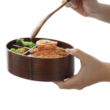 Natural Wood Lunch Box Hot Japanese Style Bowl Healthy Food Container Dinnerware School Camping Picnic Outdoor Travel Lunch Box