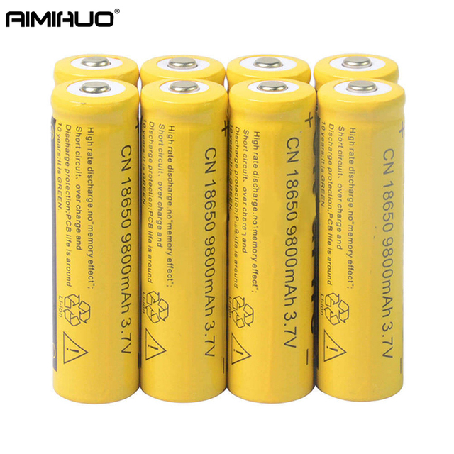 AIMIHUO 18650 3 7V 9800mAh Li ion Rechargeable Battery For Flashlight  Headlamp Lithium ion 18650 Battery 1/2/4/6/10Pcs Batteries-in Rechargeable