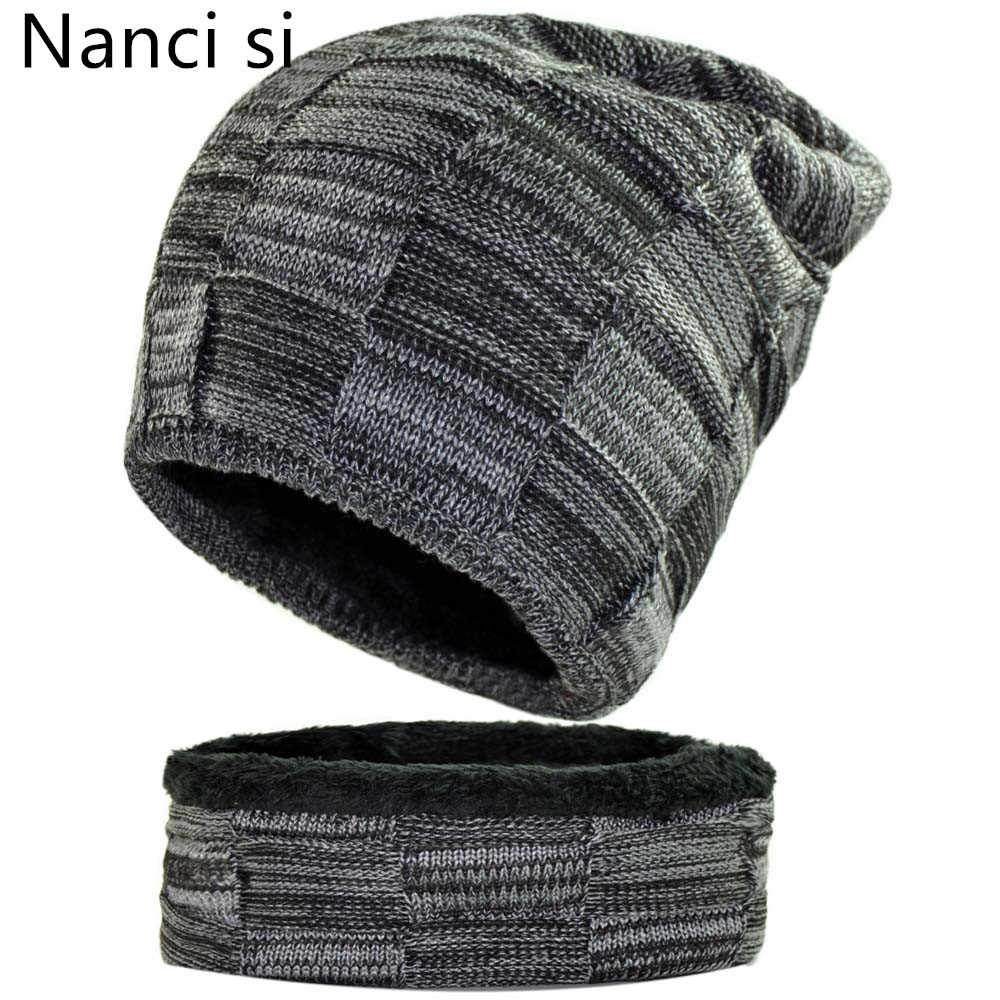 b243d6416fe4b Nanci si 2-Pieces Balaclava Knitted Hat Scarf Caps Neck Warmer Winter Hat  For Men