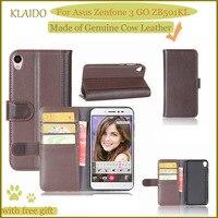 KLAIDO Genuine Cow Leather Mobile Phone Case For Asus Zenfone 3 GO ZB501KL Case For Zenfone