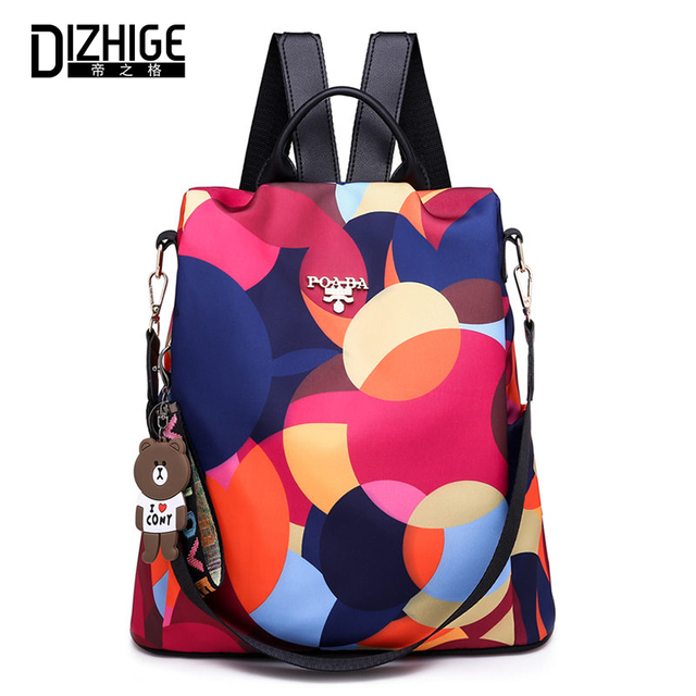 DIZHIGE Brand Fashion Waterproof Oxford Women Anti-theft Backpack High Quality School Bag For Women Multifunctional Travel Bags