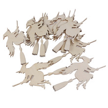 10pcs Wooden Embellishments Witch on the Broom Pattern Pendant with String for Halloween Decoration(China)