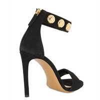Hot Selling Black Red Suede Leather Ankle Cuff Studed Sandals High Heel Cut-Out Thin Heel Gold Rivet Dress Sandal Shoes