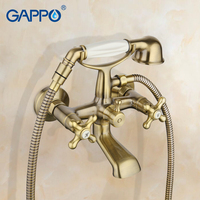 GAPPO New Wall Mount Bathroom Sink Faucet Spout Two Cross Handle Bathtub Mixer Antique Vintage Telephone