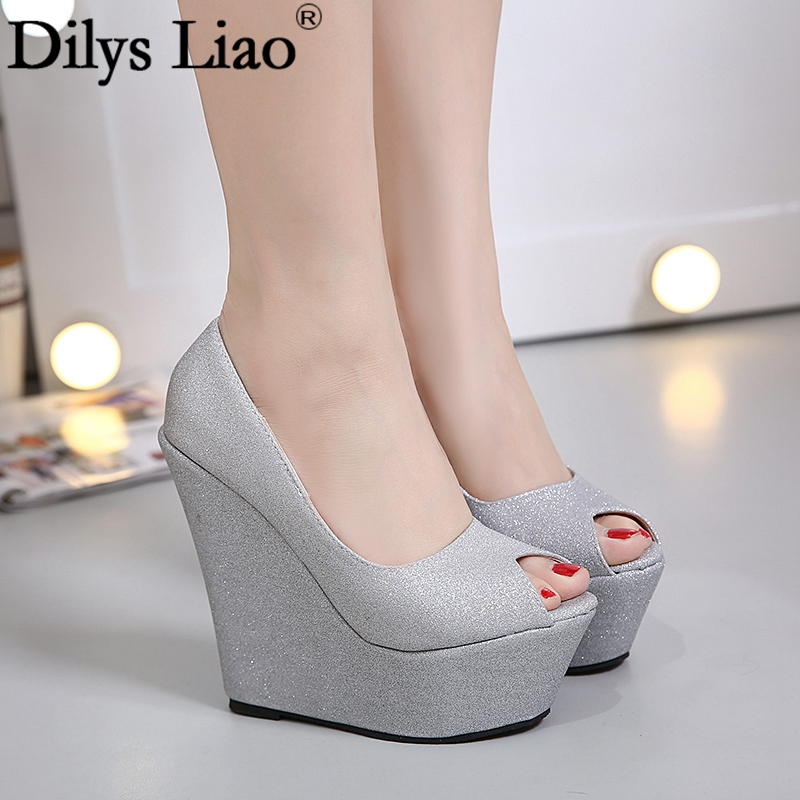 New Arrival PU Sequined Cloth Peep Toe Shoes Wedges High Platform Pumps 15cm High Heels Brand Pumps Slip-on Bling Bling Shoes