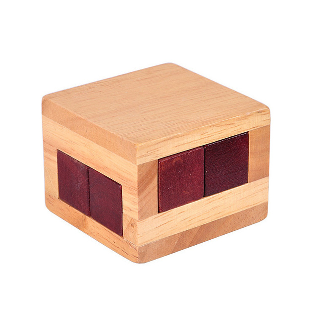 High quality wooden toys magic cube box IQ brainteaser burr puzzle games for kids and adult