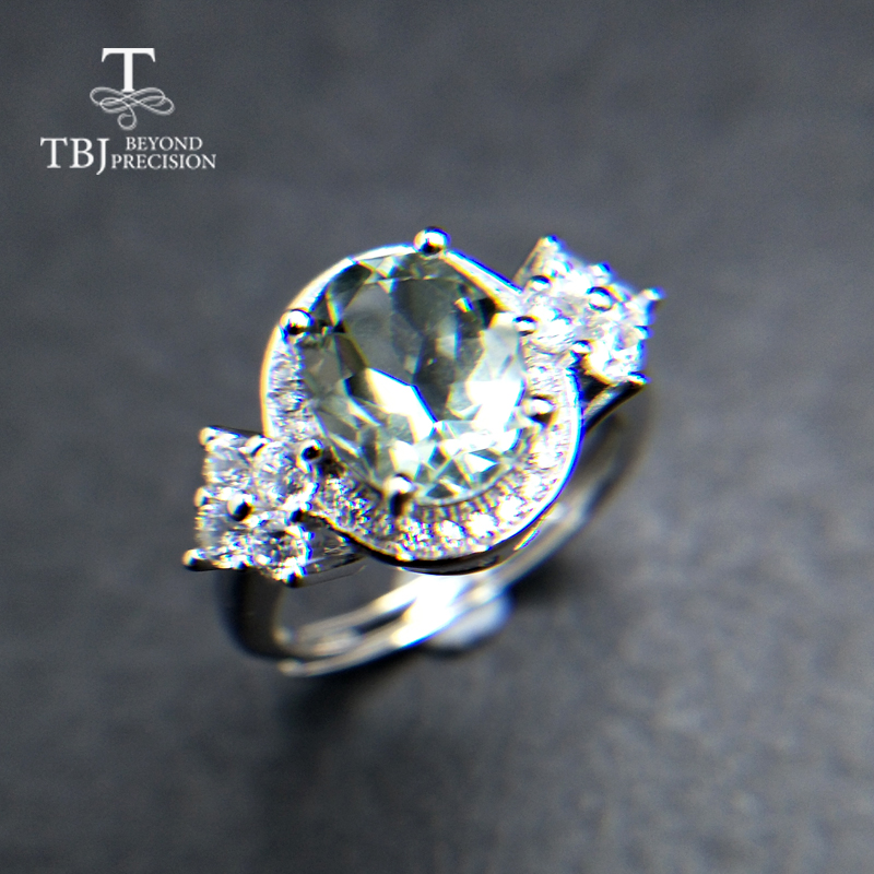 TBJ,elegant Women Ring With Real Green Amethyst Oval 7*9mm Natural Gemstone Fine Jewelry 925 Sterling Silver