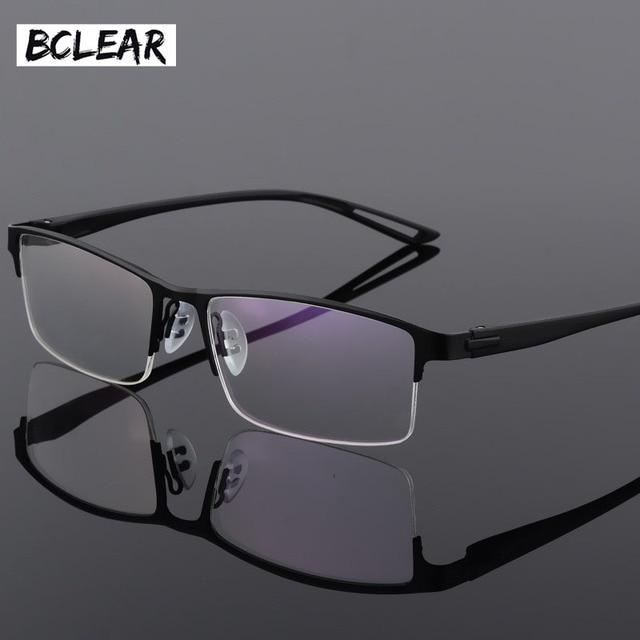 Armação de óculos em liga de titânio tr90, armação masculina sem aro e quadrada, para óculos de grau para miopia