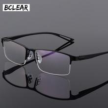 TR90 ไทเทเนียมกรอบแว่นตาชายกึ่ง Rimless Square Eye แก้วแว่นตาสายตาสั้นกรอบแว่นตาเกาหลี