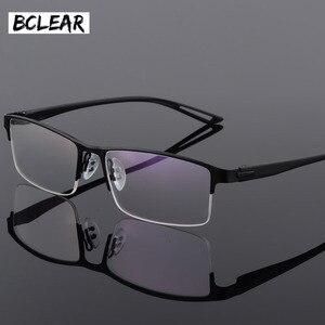 Image 1 - TR90 Titanium Alloy Glasses Frame Men Semi Rimless Square Eye Glass Prescription Eyeglasses Myopia Optical Frames Korean Eyewear