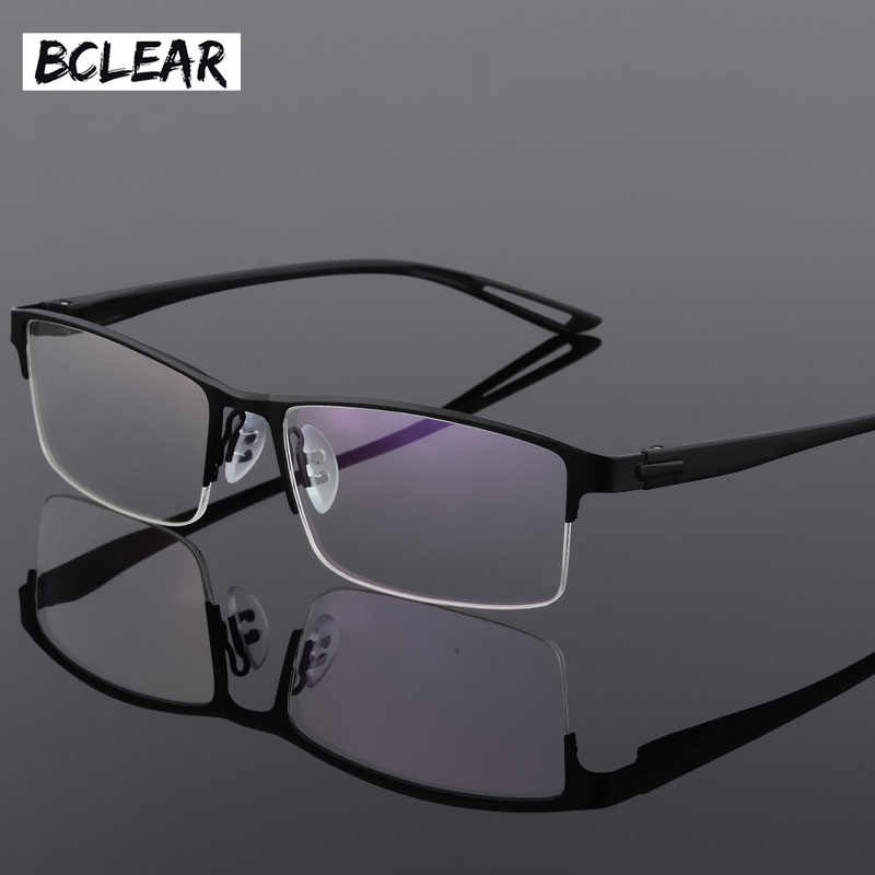 cbaa33b5a1d TR90 Titanium Alloy Glasses Frame Men Semi Rimless Square Eye Glass Prescription  Eyeglasses Myopia Optical Frames