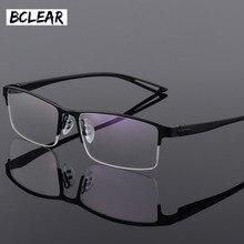 TR90 טיטניום סגסוגת משקפיים גברים מסגרת חצי ללא שפה כיכר עין זכוכית מרשם משקפיים קוצר ראיה אופטי מסגרות קוריאני Eyewear