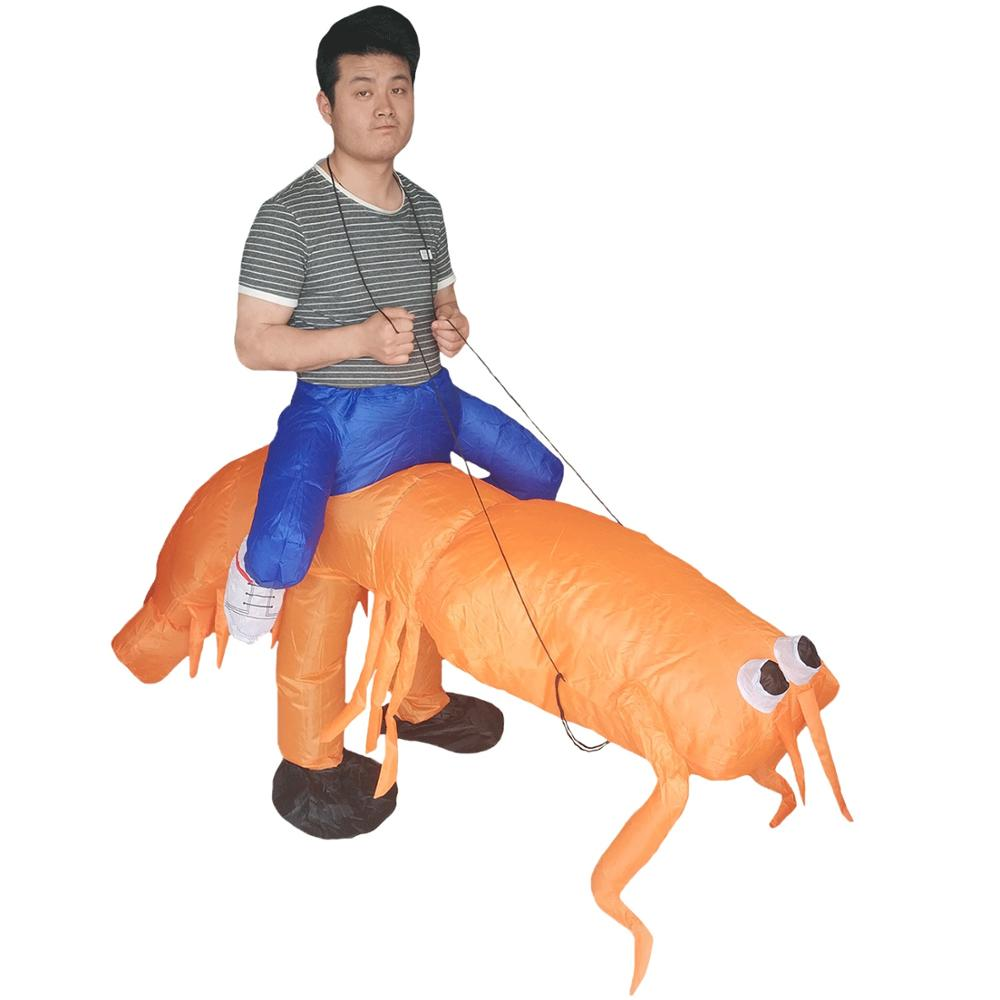 Women Men Inflatable Lobster Costume for Adults Shrimp Prawn Rider Sea Animal Halloween Carnival Cosplay Party Outfits