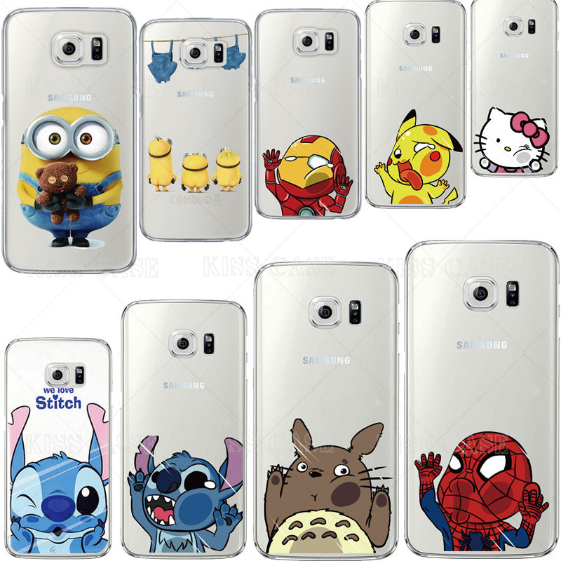 finest selection 91d65 890e7 US $1.99 |Cartoon Cute Minions Iron Man Case for S6 Clear Transparent Phone  Case For Samsung Galaxy S6/G9200 Cartoon Back Cover Fundas-in Half-wrapped  ...