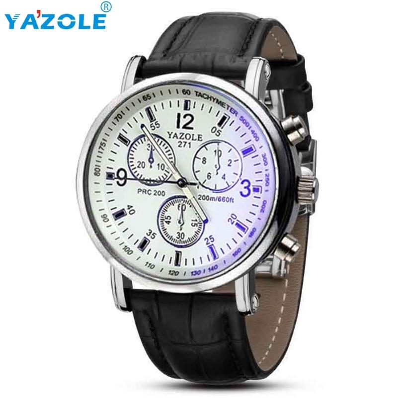 Yazole Men watch Luxury Brand Watches Quartz Clock Fashion Leather belts Watch Cheap Sports wristwatch Relogio Male #A618