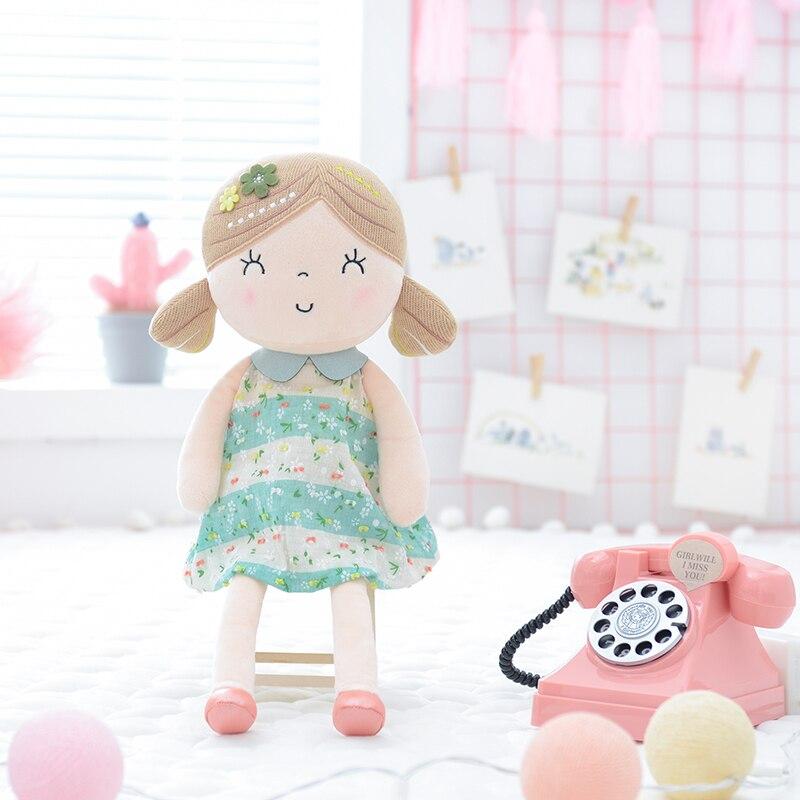 Gloveleya Spring  Girl  Dolls Baby Dolls Gifts Cloth Dolls Kids Rag Doll Plush Toys 43CM Green