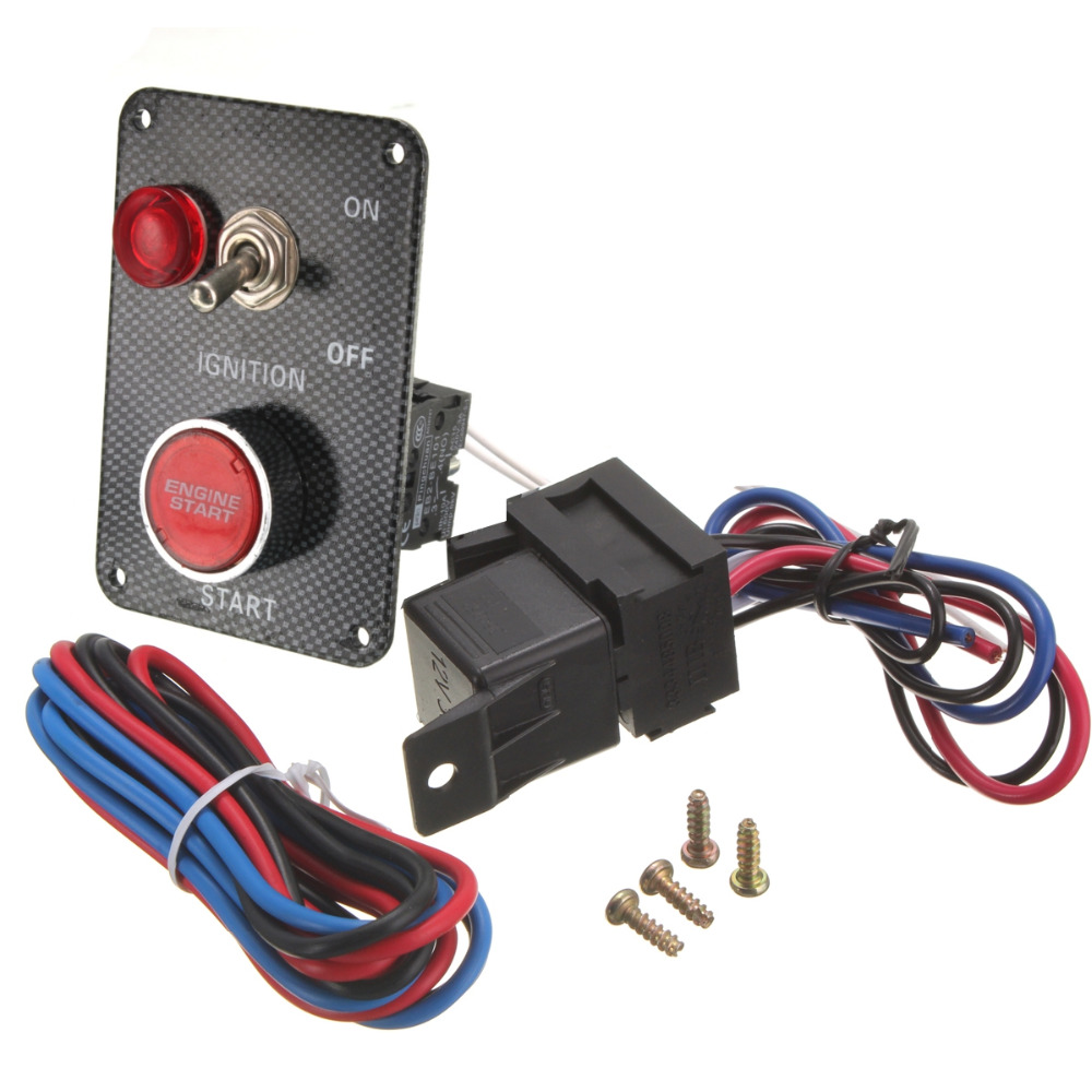 12v Racing Car Ignition Switch Kit Carbon Panel Toggle Engine Start Starter Push Button In Switches Relays From Automobiles Motorcycles On
