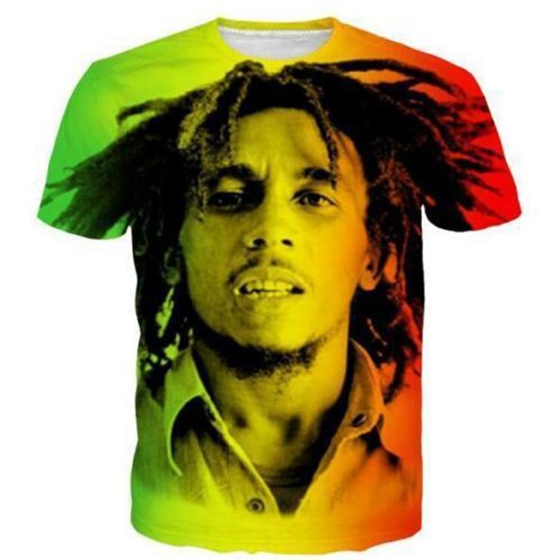 Hip Hop Mujer / Hombres camiseta Reggae Star Bob Marley Mangas cortas - Ropa de hombre