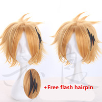 Free hair net+My Hero Academia cosplay wig with flash hairpin Comic conKaminari Denki cosplay wig Fluffy Blonde Hair costumes