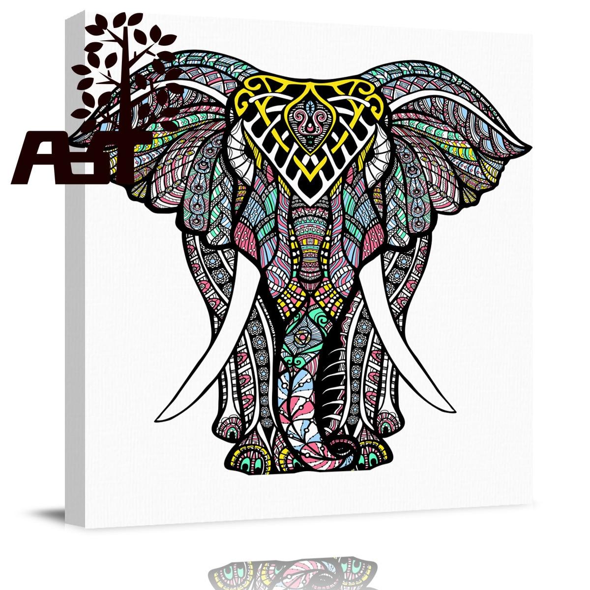 34a01bad147 Arte Mandala elefante Animal pintura al óleo listo para colgar conjunto  lienzo impresión marco de ...